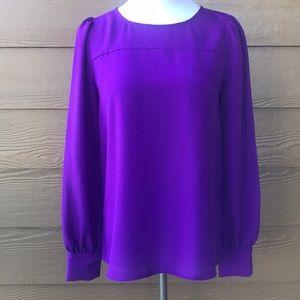 J. Crew Purple Blouse Keyhole Top Long Sleeves